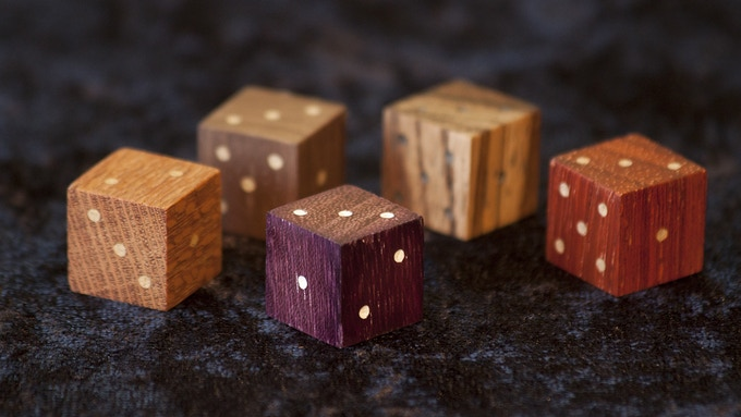 Sample Dice shown in Lacewood, Black Walnut, Purple Heart, Zebrawood, and African Padauk