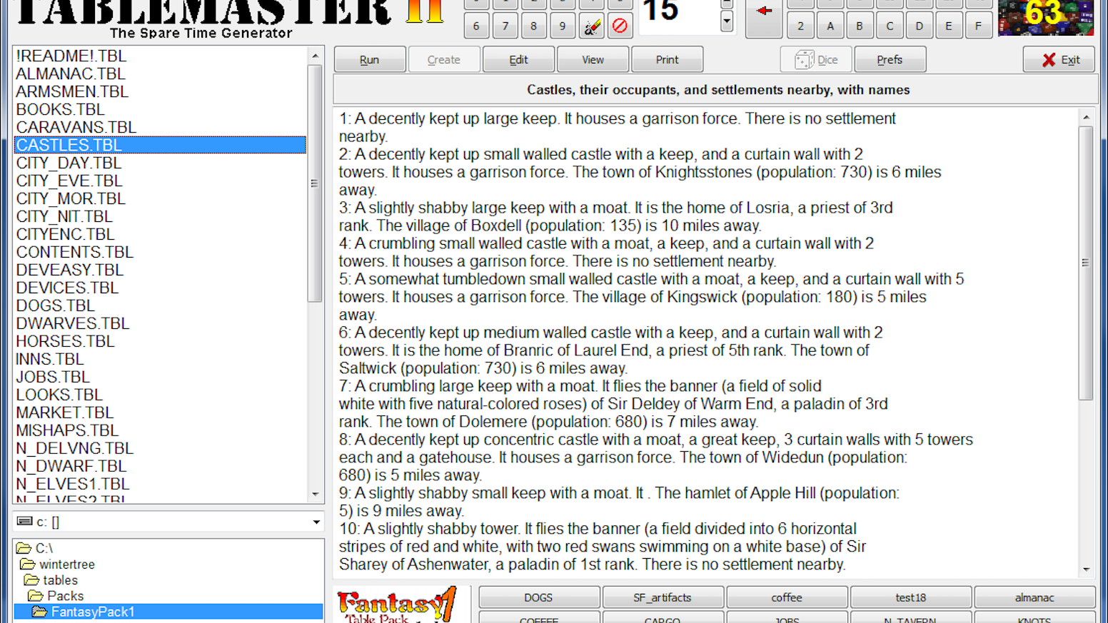 TableMaster II Gamemaster's Aid Software by Jean McGuire