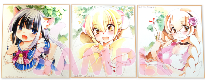 3 of the 4 Shikishi illustrated by Watashiya-sensei!