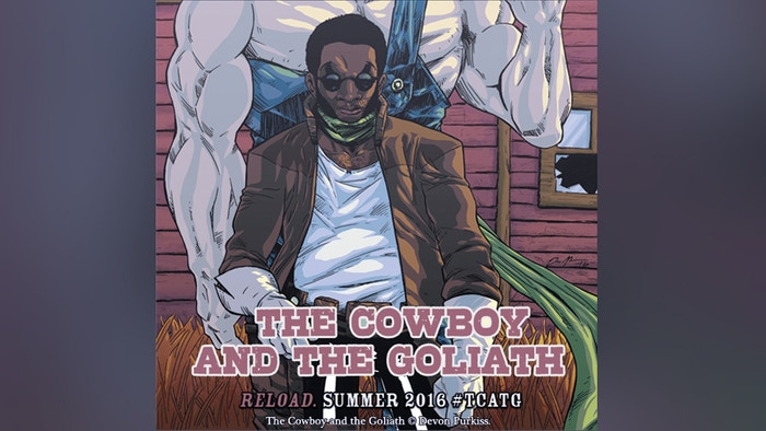 """Brought together by chance, a cantankerous cowboy and a gregarious goliath embark on a journey through a re-imagined """"Old West""""."""