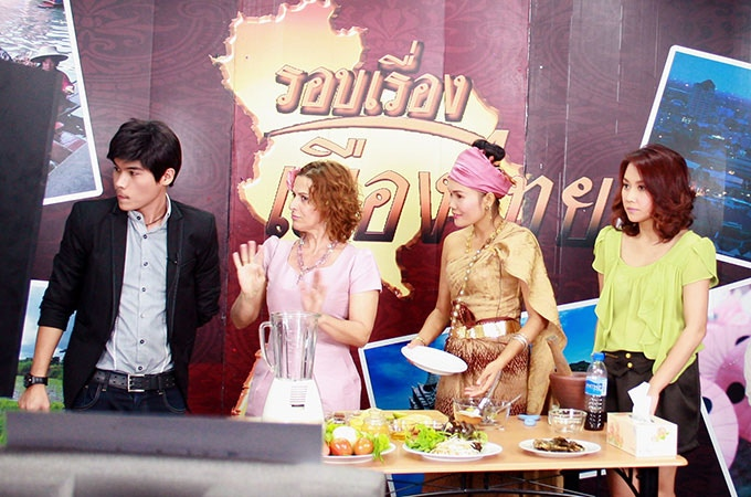 On the set of a Bangkok TV program (with a cooking class student)