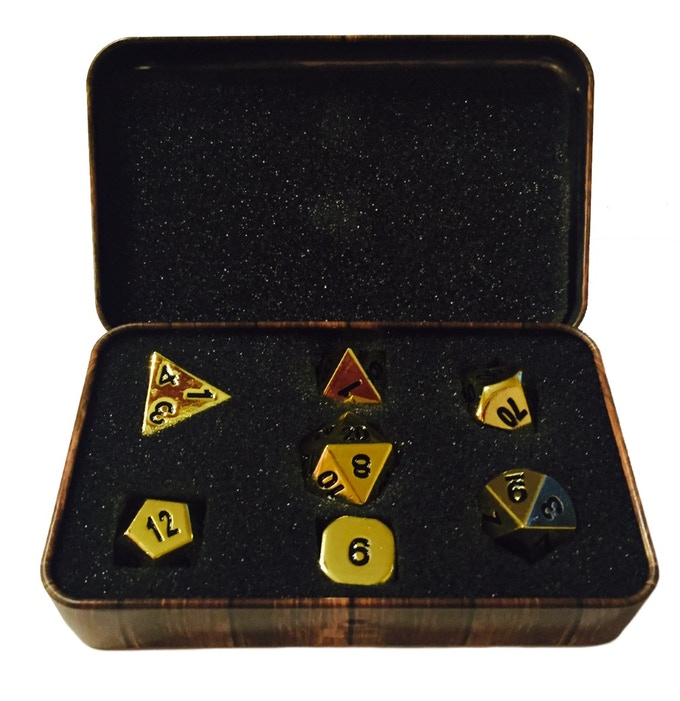 Dice Box Perks with dice Include 7 Beautifully-Crafted Metal Die