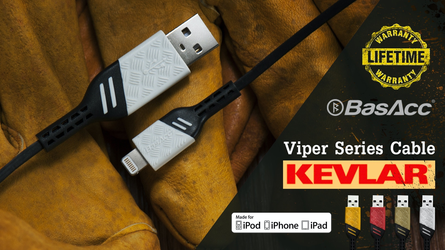 Revolutionary Design and the Strongest Lightning MFi Certified Cable made with Kevlar - Lifetime Warranty!