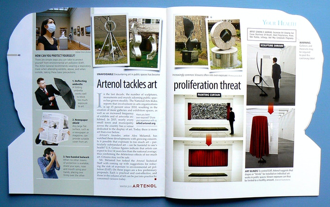 Artenol's Winter 2015 edition featured a story on how to avoid potentially hazardous over-exposure to modern art. The piece, a satire, had more than a little truth to it.