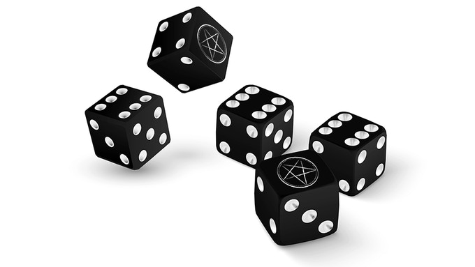 """Custom 5d6 with the Hellywood pentagram replacing the """"1"""" pip."""