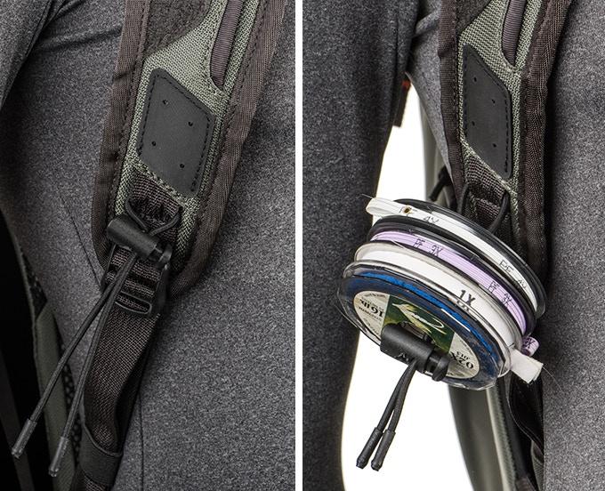 Removable tippet holder on right shoulder strap