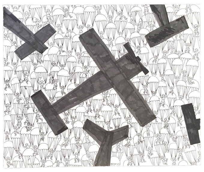"""For $219: """"Planes #11,"""" 2011, marker and pen on paper, 14 x 17 in., signed, plus a signed copy of """"At War with War."""""""