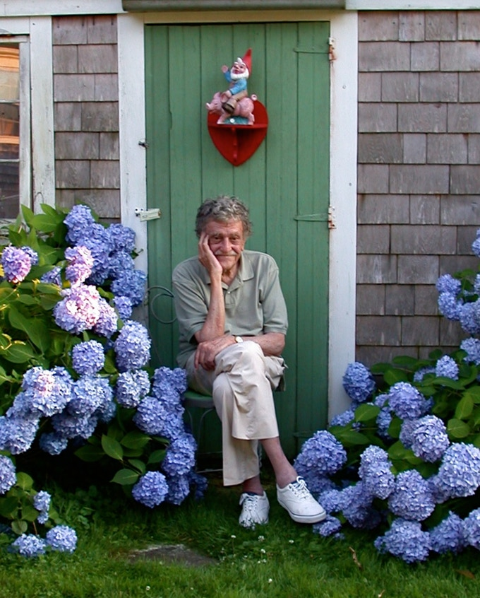 Kurt Vonnegut at home in Barnstable, Mass. (Photo Courtesy Vonnegut Family Archives).