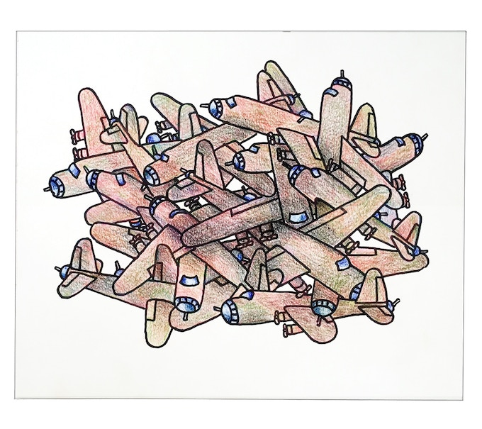 """For $350: """"Planes #17,"""" 2011, crayon on paper, 14 x 17 in., signed, plus a signed copy of """"At War with War."""""""
