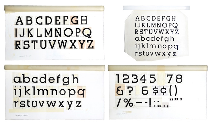 """For $400: """"Urbana Alphabet and Numbers,"""" 1975,  group of 4 unique working Photostats of an unpublished font, 20 x 11 in (3), 20 x 15 in. (1), all signed, plus a copy of """"At War with War."""""""