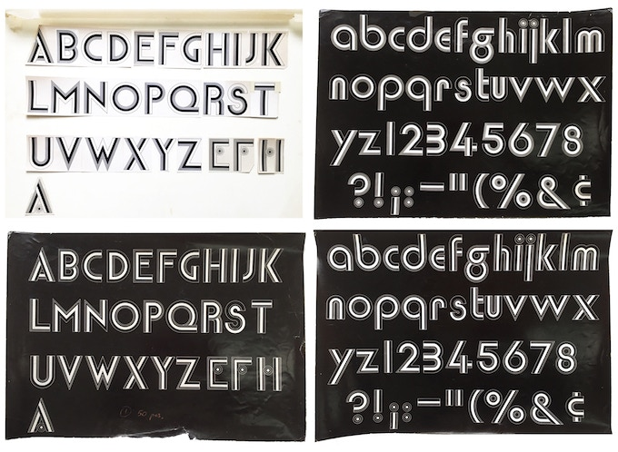 """For $389: """"Filmsense Alphabet and Numbers,"""" 1967, group of 4 unique working Photostats of an unpublished font, 13 x 19 in (3), 15 x 20 in. (1), all signed, plus a copy of """"At War with War."""""""