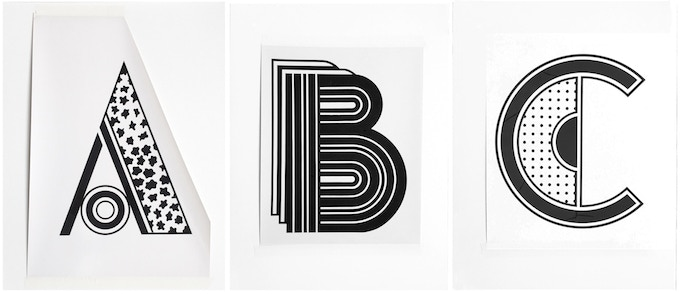 """For $525 (no longer available): """"Monogram A, B, C"""" 1980, group of 3 unique working Photostats of unpublished monograms, each 15 x 20 in., all signed, plus a copy of """"At War with War."""""""