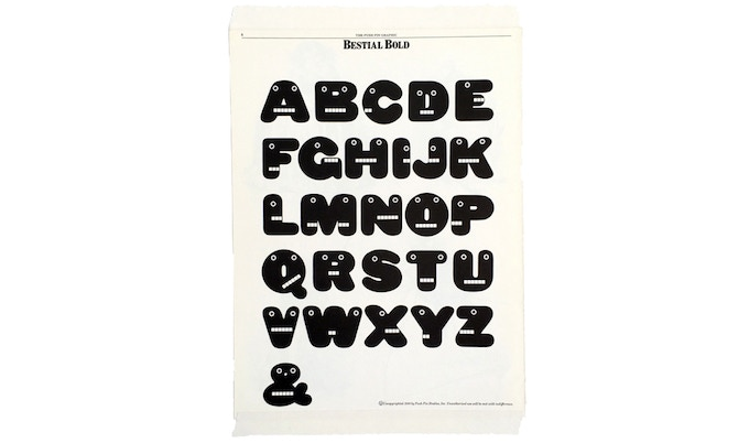 """For $100: """"Bestial Bold Alphabet,"""" 1978, 15 x 20 in., mounted archival page: """"Push Pin Graphic"""" no. 84 (May/June 1980), 8 1/2 x 11 in., signed, plus a copy of """"At War with War."""""""