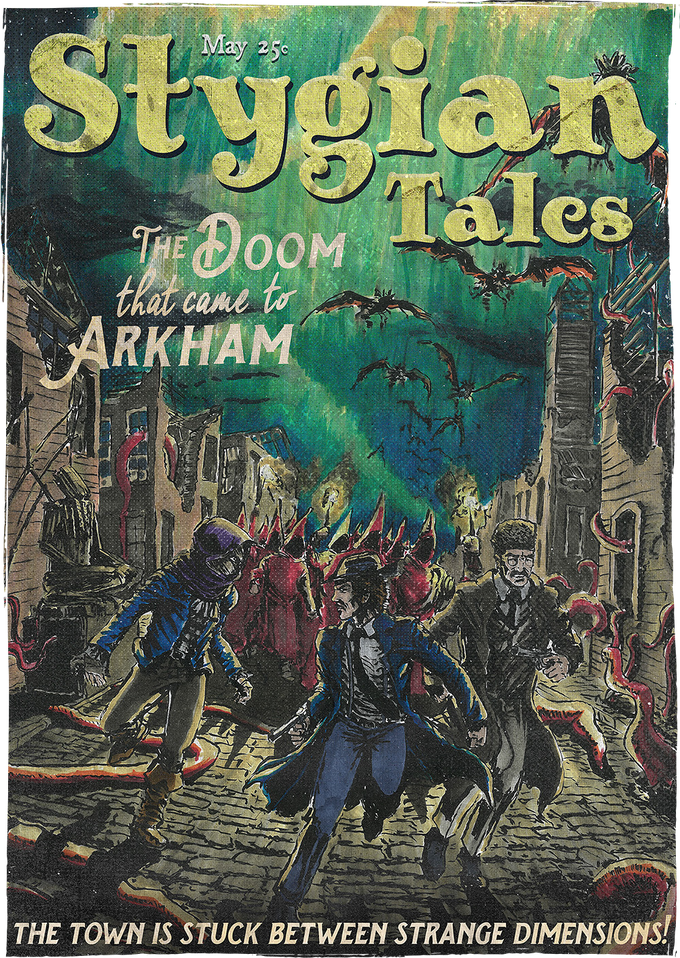 Stygian Tales covers are designed as loading screens for Stygian in respect to Weird Tales Magazine.