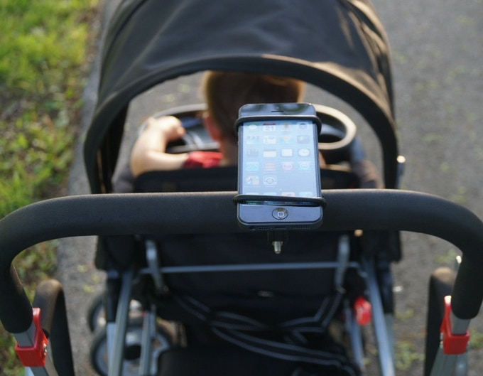 SuperBand on stroller using handle bar clamp.