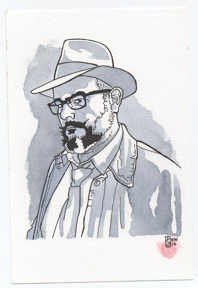 John Grümph's illustration of Hellywood designer Emmanuel Gharbi.