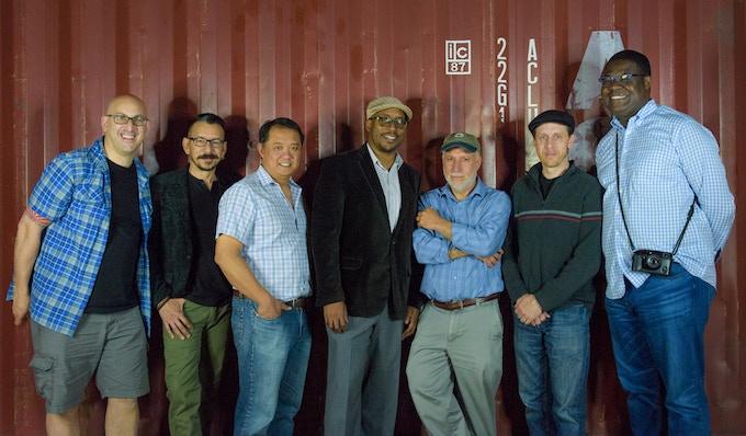 Geoff Livingston (left), Pablo Raw, Joe Newman, Dwight Jefferson, Jon Sperling, Charles Butler, and Nana Gyesie