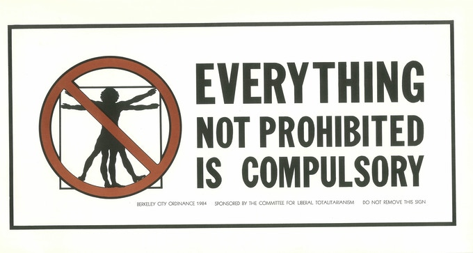 Everything Not Prohibited is Compulsory poster by David Lance Goines, 1984. This important document celebrates Moe's battle with the city of Berkeley over his right to smoke his cigar.