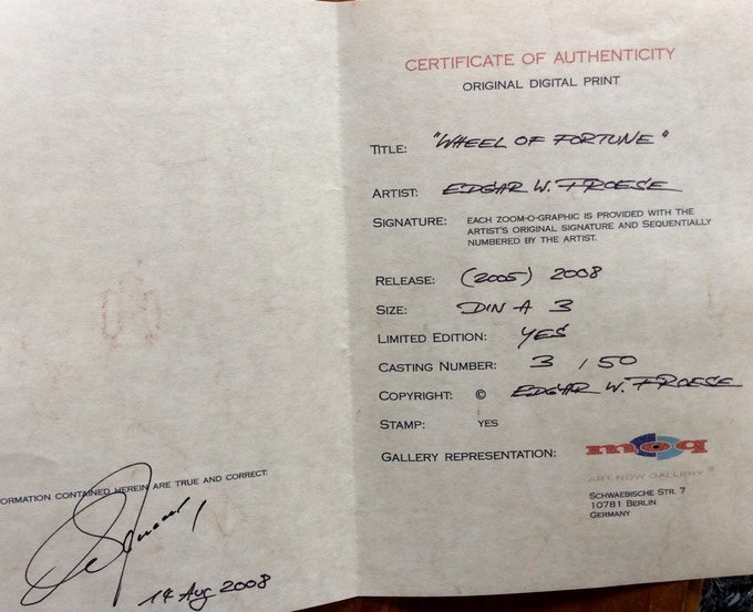 """Certificate for """"Wheel of Fortune"""": Exclusive Zoom-O-Print made & signed by Edgar Froese."""