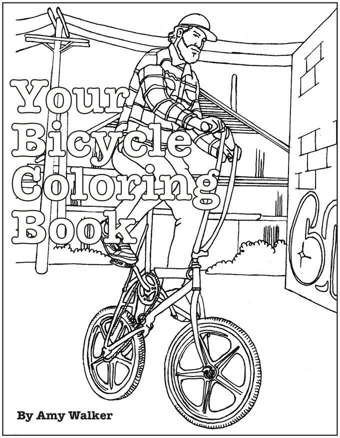 Your bicycle coloring book by amy biker walker kickstarter Coloring book mockup
