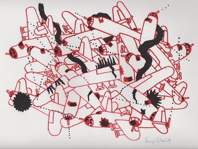 """For $400: """"Air Battle,"""" 2011, markers on paper, 11 x 8 in., signed, plus a signed copy of """"At War with War."""""""