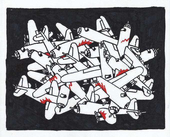 """For $400: """"Fighting Planes at Night,"""" 2010, markers on paper, 10 x 12 in., signed, plus a signed copy of """"At War with War."""""""