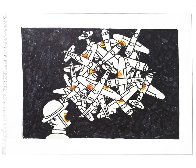 """For $219: """"Planes #12,"""" 2011, markers on paper, 18 x 23 in., signed, plus a signed copy of """"At War with War."""""""