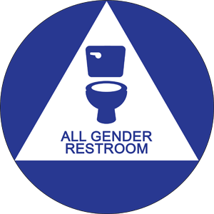"[sticker graphic: toilet graphic in a triangle, in a circle: ""all gender restroom""]"