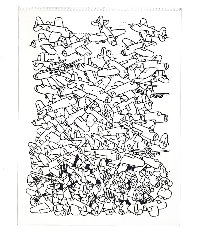 """For $219 (no longer available): """"Planes #13,"""" 2011, marker on paper, 18 x 23 in., signed, plus a signed copy of """"At War with War."""""""