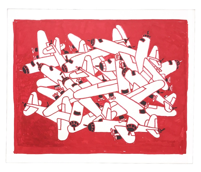 """For $300: """"Planes #18,"""" 2011, markers on paper, 14 x 17 in., signed, plus a signed copy of """"At War with War."""""""