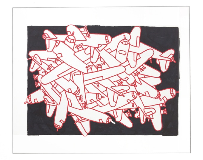 """For $259: """"Planes #16,"""" 2011, markers on paper, 14 x 17 in., signed, plus a signed copy of """"At War with War."""""""