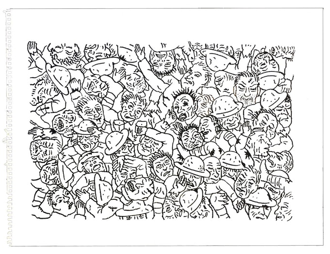 """For $250: """"Soldiers #10,"""" 2011, marker on paper, 18 x 23 in., signed, plus a signed copy of """"At War with War."""""""