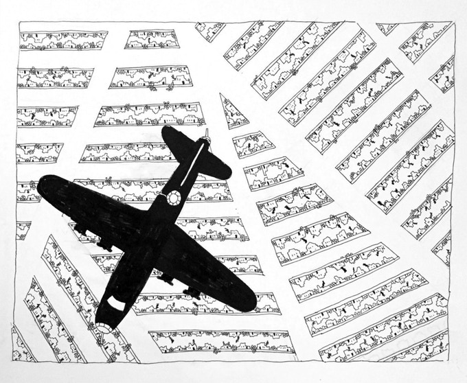 """For $219: """"Planes #10,"""" 2011, marker and pen on paper, 14 x 17 in., signed, plus a signed copy of """"At War with War."""""""