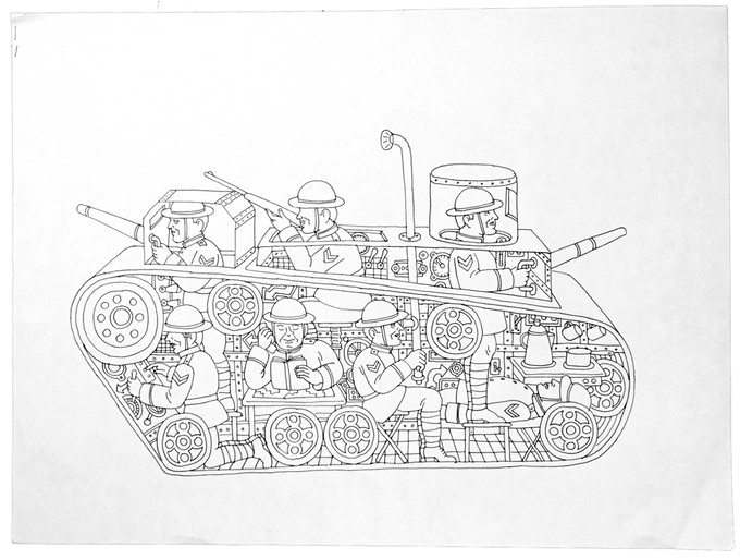 """For $219 (no longer available): """"Tanks #10,"""" 2011, pen and ink on paper, 18 x 23 in., signed, plus a signed copy of """"At War with War."""""""