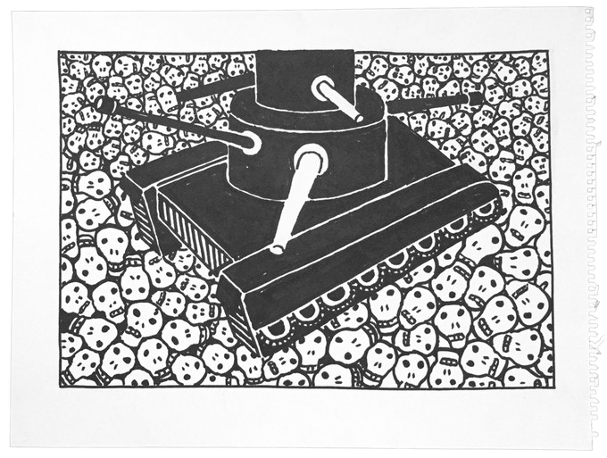 """For $250: """"Tanks #11,"""" 2011, marker on paper, 18 x 23 in., signed, plus a signed copy of """"At War with War."""""""