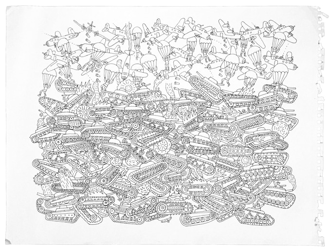 """For $250 (no longer available): """"Planes, Tanks, and Parachutes #1,"""" 2011, pen and ink on paper, 18 x 23 in., signed, plus a signed copy of """"At War with War."""""""