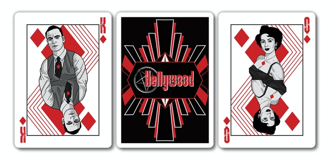 54-card Hellywood poker deck with art deco styling circa 1945.