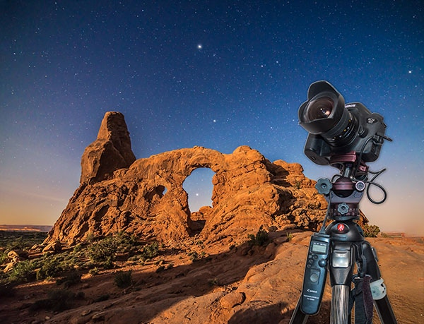 Moonlit nightscape at Arches National Park, Utah