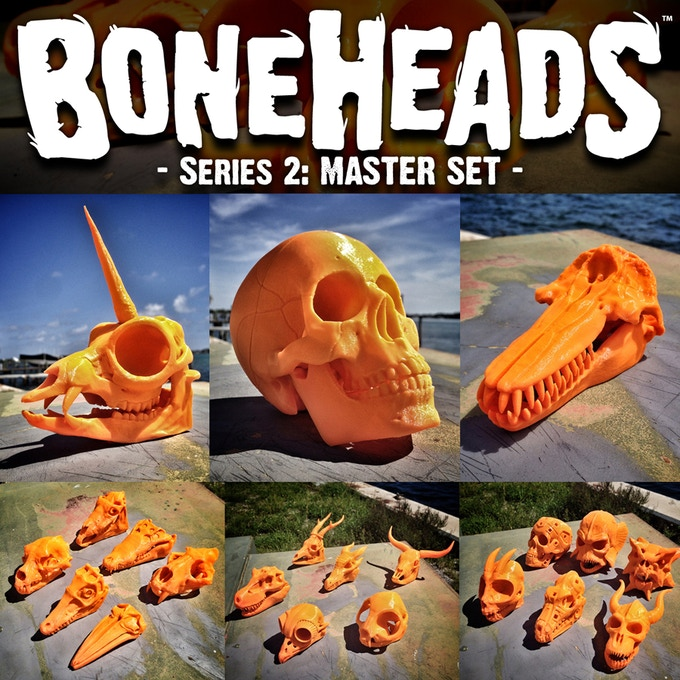 3D-Printable Skulls are a ton of Fun! Click this pic to see the Boneheads set we release in 2015.