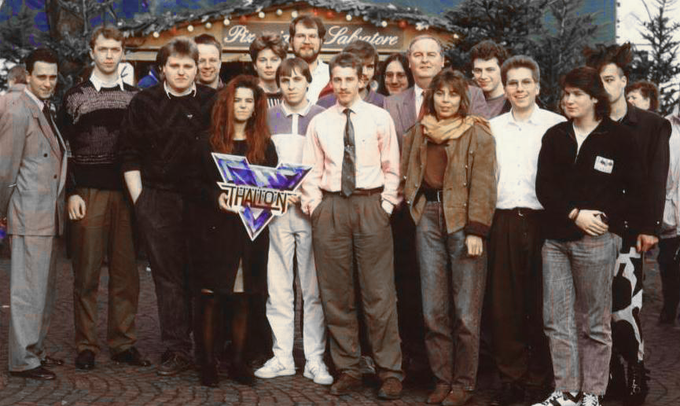 1989. A press photo for the English magazine ACE shows the Thalion team and Grandslam.