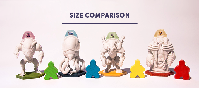 Exosuits vs. the standard Carcassone meeples. These 3D printed prototypes do not represent the final quality of the Exosuit miniatures, only their size.