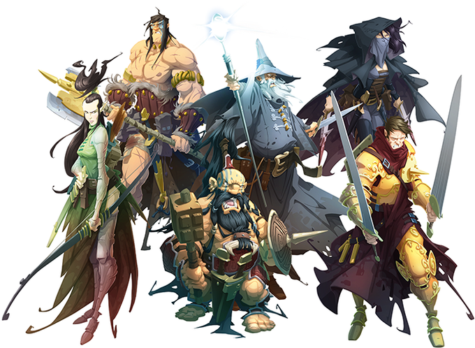 The Heroes: Sibyl the elf ranger, Bjorn the barbarian, Siegfried the dwarf berserker, Elias the wizard, Whisper the rogue, and Owen the paladin.