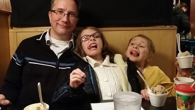 Me and my awesome daughters / art assistants / playtesters.