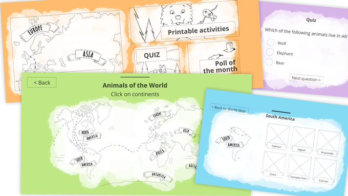 Here are some very early UX mock-ups of Kiki's Kids Club.