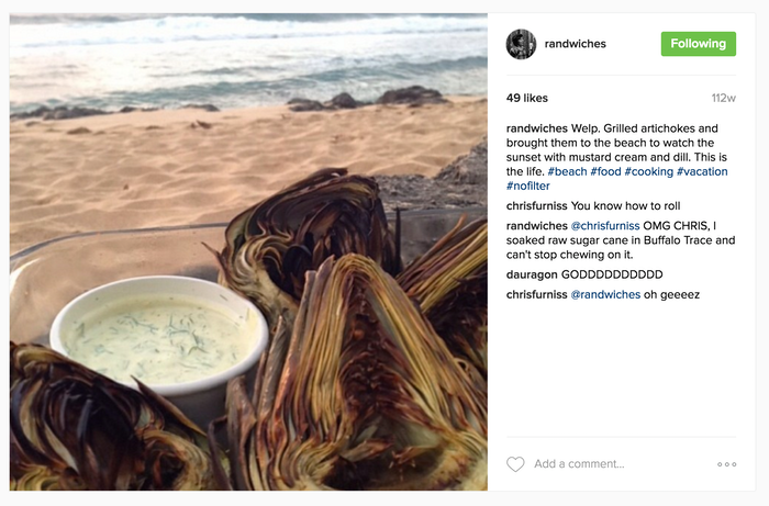 Grilled artichokes on a Hawaii beach. What could be better?