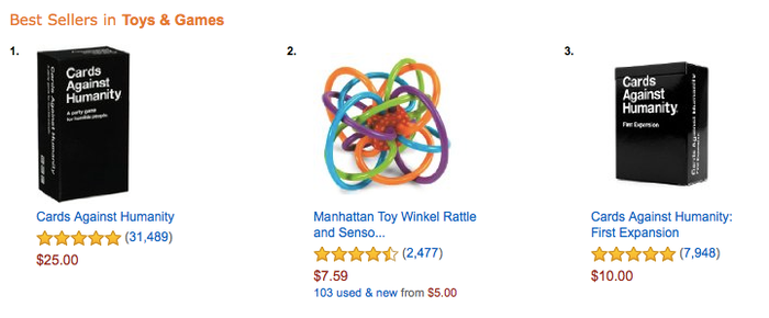 Cards Against Humanity (and, um, the Winkel Rattle) dominating Amazon.