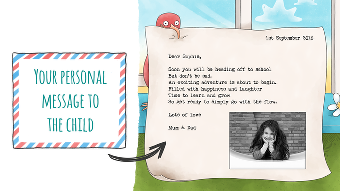 Your personal message in a bottle will be revealed to your child at the end of the book - You can also include a photograph or drawing in the letter to further connect the story to them