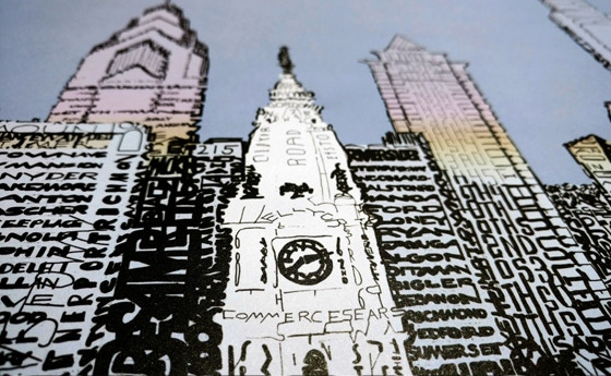 """Philly Skyline - Detail View 16""""x20"""" Print"""