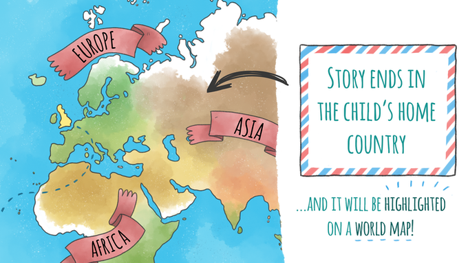 """Your child's home country will be highlighted on the world map of Kiki's journey, allowing parents to discuss the concept of """"home"""" in terms of a whole world view and providing an educational opportunity to learn about world geography"""