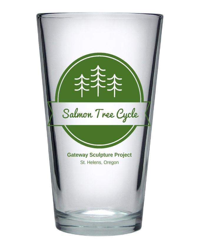 Pledge $30 - Made-in Oregon Salmon Tree Cycle Glass. 16 oz.
